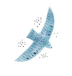 watercolor scandinavian blue bird isolated vector image