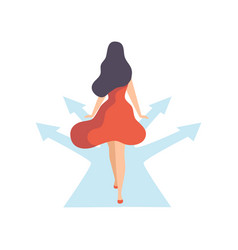 woman walking road with different directions back vector image
