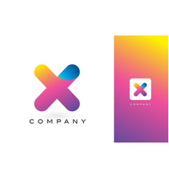 x logo letter with rainbow vibrant beautiful vector image