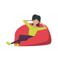 Young woman sitting on bean bag vector