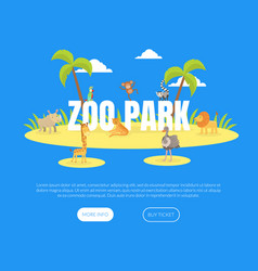 zoo park landing page template island with cute vector image
