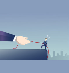 businessman walk in cliff gap holding rope vector image