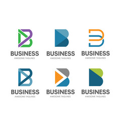 creative b letter concept logo set vector image