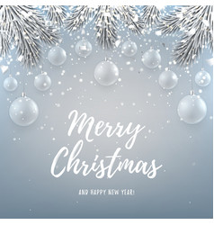 Merry Christmas backdrop with glass toys vector image vector image