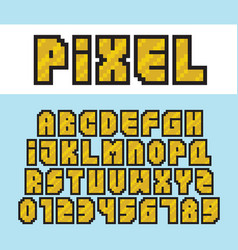 pixel art style golden alphabet and numbers vector image