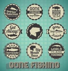 Vintage Gone Fishing Labels vector image vector image