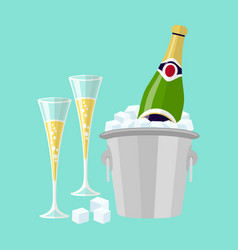 Champagne bottle in bucket with ice and glasses vector
