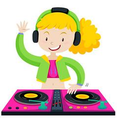 DJ playing music with machine vector image