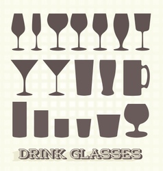 Drinking Glasses Silhouettes vector image vector image