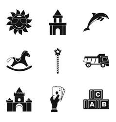 enjoy childhood icons set simple style vector image