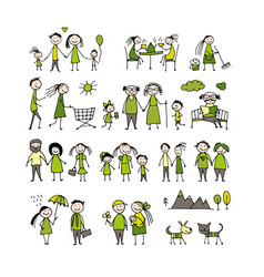 family set sketch for your design vector image vector image