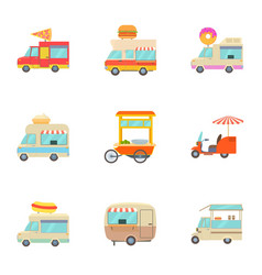 fast food truck icons set cartoon style vector image