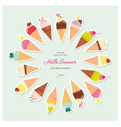 festive round frame made of ice-cream cones with vector image vector image