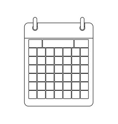 monochrome contour calendar with two rings vector image