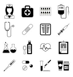 Set of medical black icons vector image