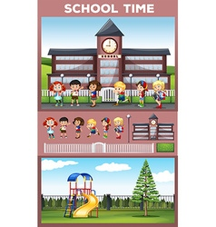 Students being happy at school ground vector image vector image