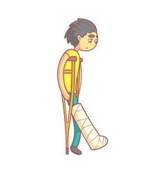 unhappy young man with dark hair on crutches with vector image