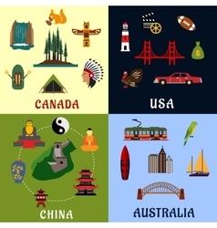 USA Canada China Australia travel icons vector image