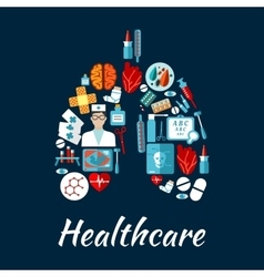 Healthcare icons in a shape of human lungs vector image