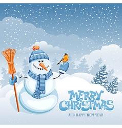 Snowman and bird vector