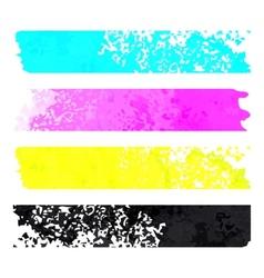 CMYK grunge stripes pattern background vector image