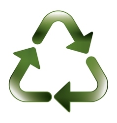 green recycling symbol shape with relief vector image