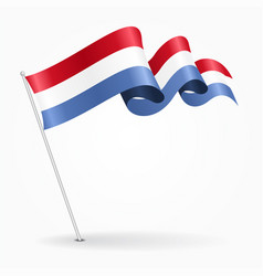 luxembourg pin wavy flag vector image vector image