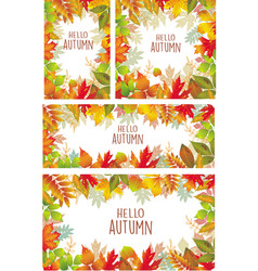 set of banner of autumnal leaves vector image