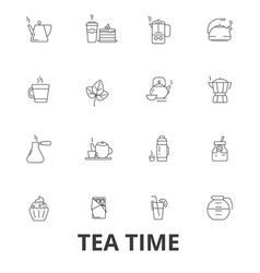 teatime tea teacup cafe tea party afternoon vector image