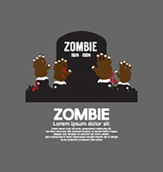 Zombie Hands Coming Out In Front Of The Grave vector image