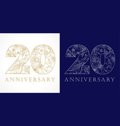 20 anniversary vintage silver gold vector image