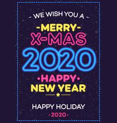 2020 christmas celebration neon poster vector