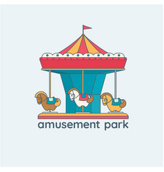 a merry-go-round carousel with vector image