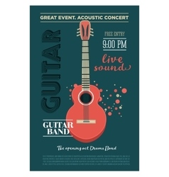Acoustic guitar concert flyer template Retro vector