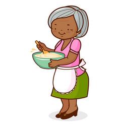 African american grandma cooking vector