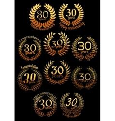 Anniversary golden laurel wreaths set vector image