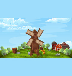 Background with mill in farm style vector