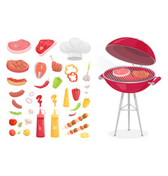 bbq barbecue set of icons vector image