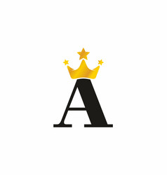 black a initial letter with gold crown logo vector image