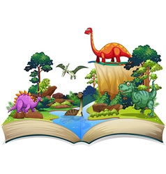 Book of dinosaur in the forest vector image