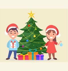 boy and girl in santa claus hats standing near vector image