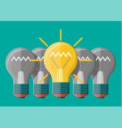 bright light idea bulb uniqueness individuality vector image