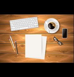 business symbols at wooden table vector image