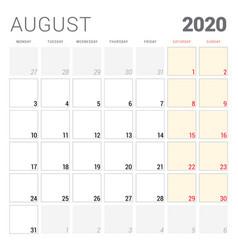 Calendar planner for august 2020 week starts on vector