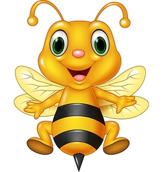 Cartoon funny bee flying isolated vector