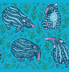 cartoon tapirs seamless pattern blue tapirs vector image