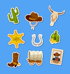 cartoon wild west elements stickers set vector image