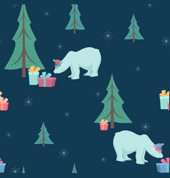 Christmas tree polar bear gifts seamless pattern vector