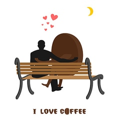 coffee lovers Coffee beans and man looking at moon vector image