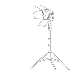 Continuous line drawing lamp searchlight concept vector